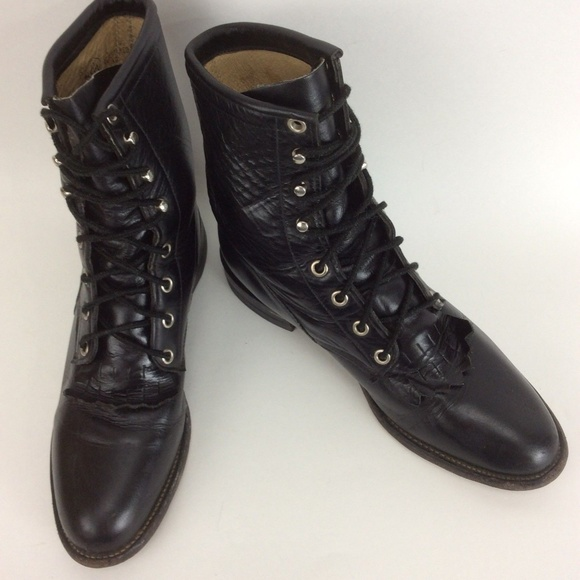 8b701beae3d5 Justin Boots Shoes - Vtg Justin Boots Leather Kiltie Lace Up Granny